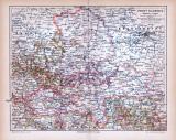 Farbige Lithographie einer Landkarte der Provinz Sachsen...