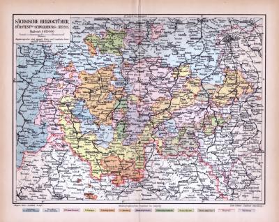 Farbige Lithographie einer Landkarte der sächsischen Herzogtümer aus 1885. Maßstab 1 zu 850.000.