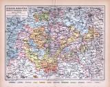 Farbige Lithographie einer Landkarte der sächsischen...