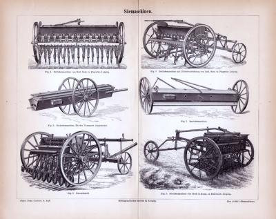 Stich aus 1885 zeigt verschiedene landwirtschaftliche Säemaschinen unterschiedlicher Bauart.