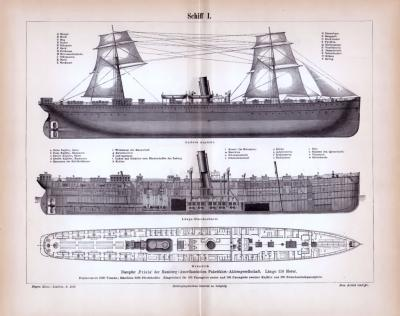 Stich aus 1885 zeigt den Dampfer Frisia in verschiedenen Ansichten.
