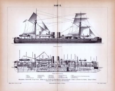 Stich aus 1885 zeigt das chinesische Panzerschiff Ting-Yuen in verschiedenen Ansichten.