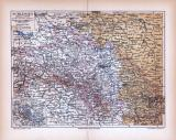 Schlesien Landkarte ca. 1885 Original der Zeit