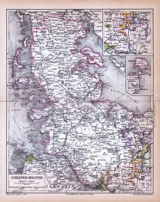 Farbige Lithographie einer Landkarte Schleswig-Holsteins aus dem Jahr 1885. Maßstab 1 zu 900.000.