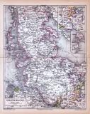 Farbige Lithographie einer Landkarte Schleswig-Holsteins...