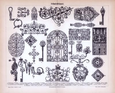 Stich aus 1885 zeigt verschiedene Objekte der Schmiedekunst.