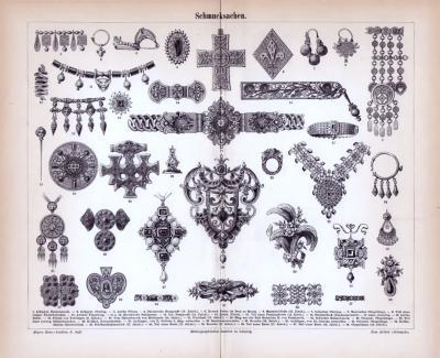 Stich aus 1885 zeigt verschiedene kunstvoll gefertigte Schmucksachen.