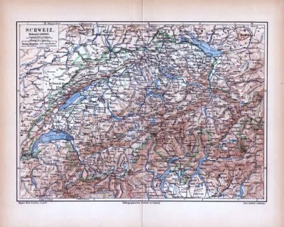Farbige Lithographie einer Landkarte der Schweiz aus dem Jahr 1885. Maßstab 1 zu 1.400.000.