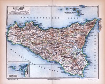 Farbige Lithographie einer Landkarte Siziliens aus dem Jahr 1885. Maßstab 1 zu 1.100.000.