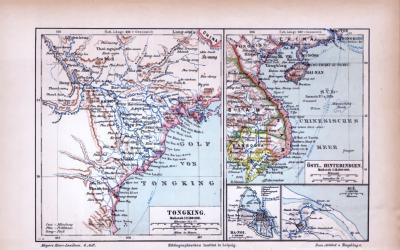 Farbige Illustration aus 1885 zeigt Tongking und das östliche Hinterindien.