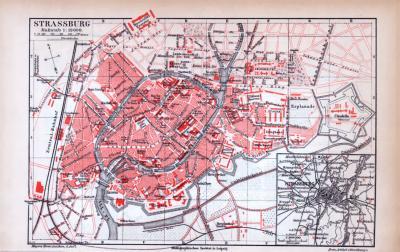 Farbig illustrierter Stadtplan von Strassburg aus dem Jahr 1885. Maßstab 1 zu 19.000.