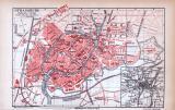 Farbig illustrierter Stadtplan von Strassburg aus dem...