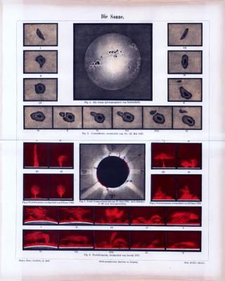 Lithographie aus 1885 zeigt Photographien der Sonnenoberfläche und Sonnenflecken bzw. Sonnenstürme.
