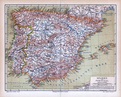Farbige Lithographie einer Landkarte von Spanien und Portugal aus dem Jahr 1885. Maßstab 1 zu 4.500.000.