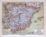 Farbige Lithographie einer Landkarte von Spanien und...