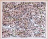 Farbige Lithographie einer Landkarte der Steiermark aus dem Jahr 1885. Maßstab 1 zu 850.000.