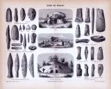 Stich aus 1885 zeigt Objekte und Bauwerke aus der Kultur der Steinzeit.