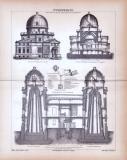 Stich aus 1885 zeigt Ansichten, Aufbau und Apparate von...