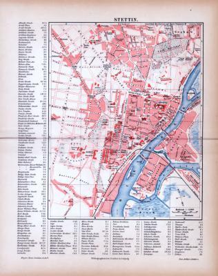Farbige Lithographie eines Stadtplans von Stettin aus dem Jahr 1885. Maßstab 1 zu 15.000.