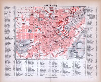 Farbige Lithographie eines Stadtplans von Stuttgart aus dem Jahr 1885. Maßstab 1 zu 14.000.