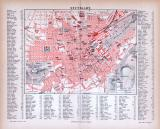 Farbige Lithographie eines Stadtplans von Stuttgart aus...