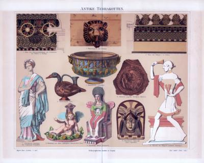 Chromolithographie aus 1885 zeigt verschiedene Terrakotten aus der Zeit der Antike.