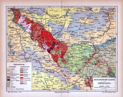 Farbige Lithographie einer geologischen Landkarte von Thüringen aus dem Jahr 1885. Maßstab 1 zu 415.000.