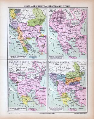 Farbige Lithographien von historischen Landkarten zur Geschichte der Europäischen Türkei aus dem Jahr 1885.