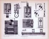 Stiche aus 1885 zum Thema Elektrische Uhren.