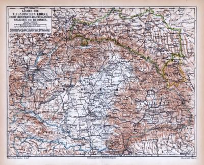 Farbige Lithographie einer Landkarte von Ungarn, Galizien und Bukowina aus dem Jahr 1885. Maßstab 1 zu 3.300.000.