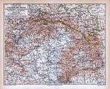 Farbige Lithographie einer Landkarte von Ungarn, Galizien...