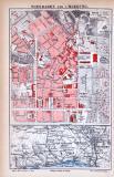 Farbige Lithographie eines Stadtplans von Wiesbaden aus dem Jahr 1885. Maßstab 1 zu 10.750. Kleine Karte zeigt die Umgebung von Wiesbaden.