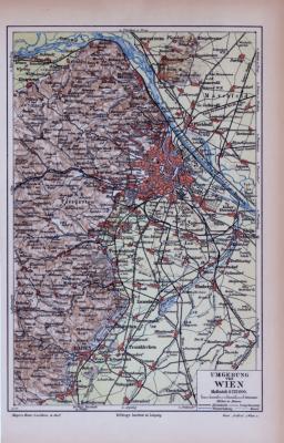 Farbige Lithographie einer Landkarte der Umgebung von Wien aus dem Jahr 1885. Maßstab 1 zu 225.000.