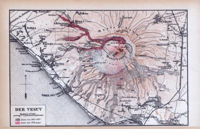 Farbig illustrierte Landkarte der Umgebung des Vesuv aus 1885.
