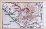 Farbig illustrierte Landkarte der Umgebung des Vesuv aus...