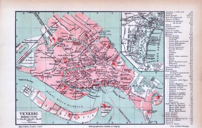Farbige Lithographie eines Stadtplans von Venedig aus dem Jahr 1885. Maßstab 1 zu 13.250.
