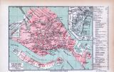 Farbige Lithographie eines Stadtplans von Venedig aus dem...