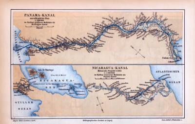 Farbige Illustration aus 1885 von Landkarten der Karibik und des Panamakanals sowie des geplanten Nicaraguakanals.