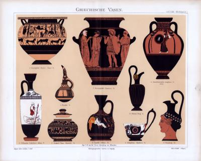 Chromolithographie aus 1885 zeigt verschiedene Vasen aus der Zeit der Antike.