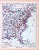 Farbige Lithographie einer Landkarte des östlichen Teils der Vereinigten Staaten von Amerikaaus dem Jahr 1885. Maßstab 1 zu 12.000.000.