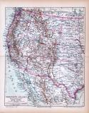 Farbige Lithographie einer Landkarte des westlichen Teils der Vereinigten Staaten von Amerikaaus dem Jahr 1885. Maßstab 1 zu 12.000.000.