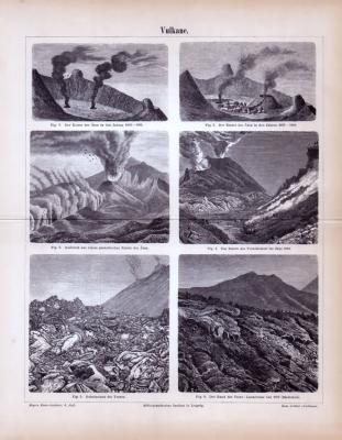Technische Abhandlung mit Stichen aus 1885 zum Thema Vulkane.
