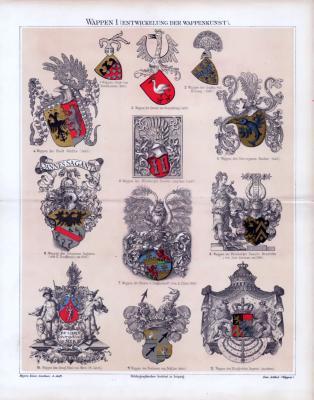 Chromolithographie aus 1885 zeigt die Entwicklung der Wappenkunst in der Heraldik.
