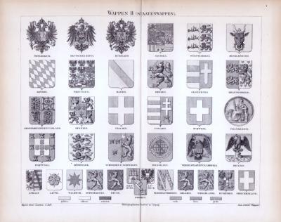 Stich aus 1885 zeigt verschiedene Staatswappen