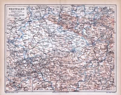 Farbige Lithographie einer Landkarte Westfalens aus dem Jahr 1885. Maßstab 1 zu 850.000.