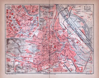 Farbige Lithographie eines Stadtplans von Wien aus dem Jahr 1885. Maßstab 1 zu 50.000.