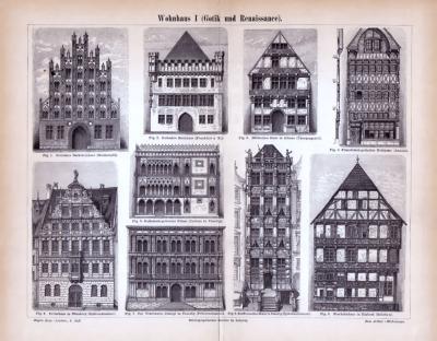 Abhandlung zur Geschichte des Wohnhauses und Stiche aus 1885 zeigen Häuser der Gotik und Renaissance.
