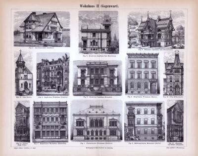 Abhandlung zur Geschichte des Wohnhauses und Stiche aus 1885 zeigen Häuser der Gegenwart.