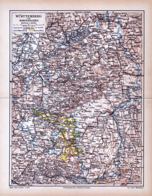 Farbige Lithographie einer Landkarte von Württemberg und Hohenzollern aus dem Jahr 1885. Maßstab 1 zu 850.000.