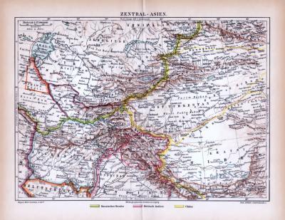 Farbige Lithographie einer Landkarte von Zentralasien aus dem Jahr 1885. Maßstab 1 zu 12.000.000.